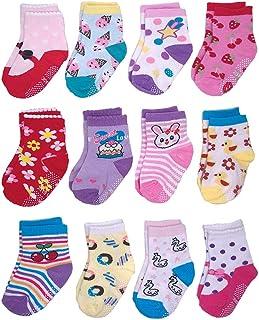 12 pares de calcetines antideslizantes de algodón para niña de 0 a 5 años