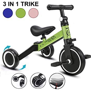 67i Kids Tricycles for 2 Year Olds 3 in 1 Tricycles Toddler Tricycle Kids Trikes for Toddler 3 Wheel Convert 2 Wheel Toddler Bike with Removable Pedal and Adjustable Seat for Boys Girls Ages 1-3 Years