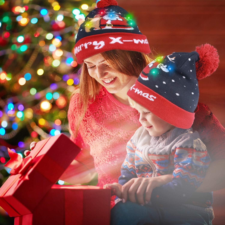 Dricar LED leuchten Hut M/ütze Stricken 4 Helle und Bunte Xmas Weihnachten Hut M/ütze Winter Schnee Hut Beanie M/ütze Warme Winterm/ütze f/ür M/änner Frauen Jungen M/ädchen