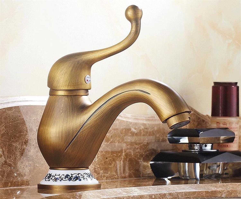 Sun LL Antique Brass Faucet, Retro Single-hole Hot And Cold Faucet , Bathroom Sink Faucet
