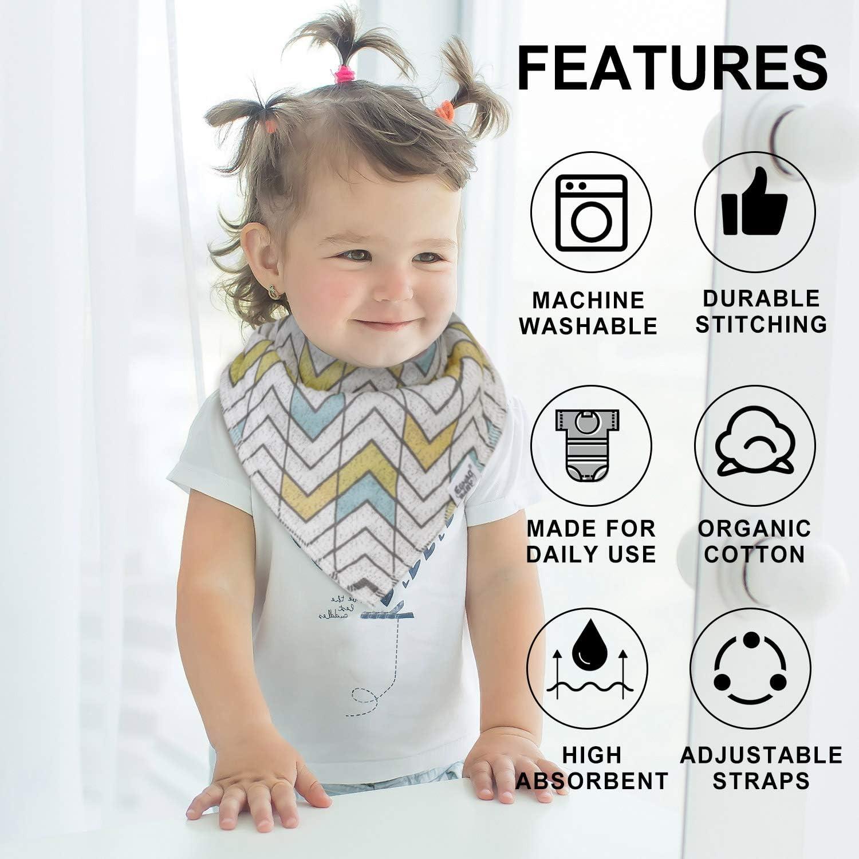 Baby Bandana Drool Bibs for Boys,Baby Bibs Unisex 12 Pack Absorbent Cotton Organic Bib Set for Teething and Drooling,Adjustable Snaps Infant BibsGraffiti