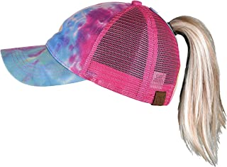 Womens Baseball Cap Dad Hat Ponytail Messy Bun Trucker Ponycap