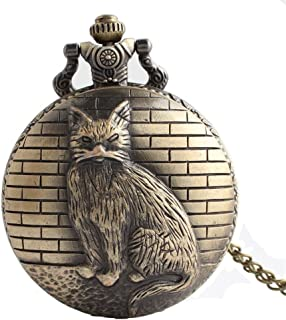 HR Creative Cat Carved Vintage Quartz Watch Montre de Mariage pour Hommes avec chaîne