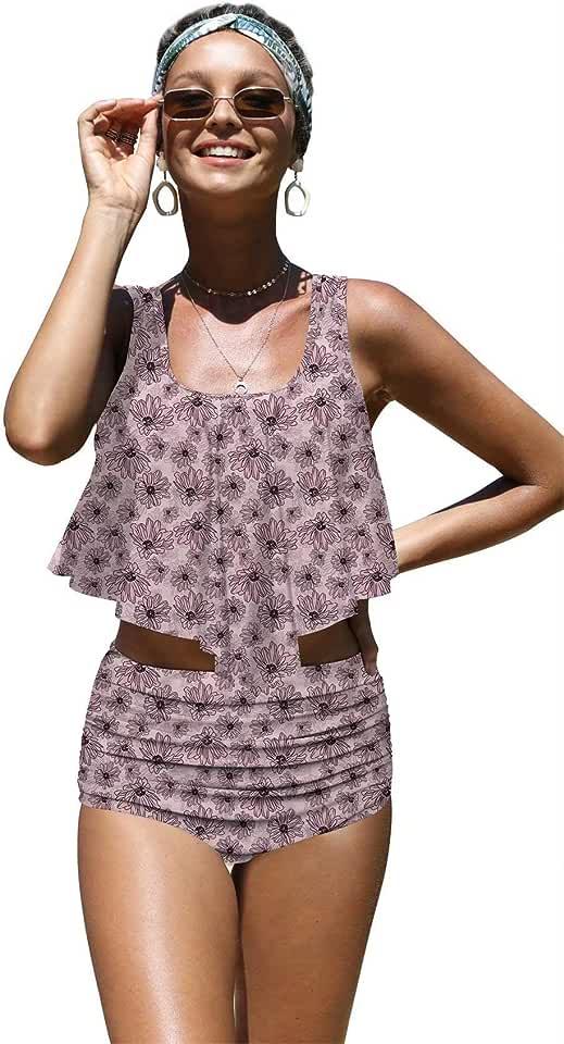 Angerella Womens Cute Sunflowers Seamless Pattern Flounce Bikinis High Waisted Swimsuits,M-1
