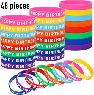 48 Pieces Happy Birthday Bracelets Silicone Stretch Wristbands Colored Rubber Bracelets for Birthday Party Supplies, 8 Colors