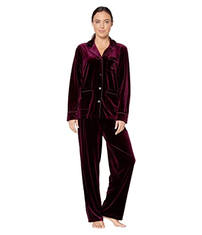 LAUREN Ralph Lauren Velvet Long Sleeve Notch Collar Three-Pocket Long Pants Pajama Set (Wine) Women