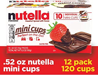 Nutella Chocolate Hazelnut Spread, Single Serve Mini Cups, 0.52 Ounce (Pack of 120)