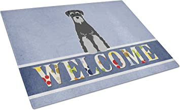 Caroline's Treasures Standard Schnauzer Black Grey Welcome Glass Cutting Board Large, Multicolor
