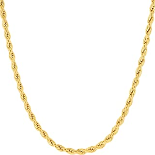 Lifetime Jewelry 3mm Rope Chain Necklace 24k Real Gold Plated for Women Men Teen with Free Lifetime Replacement Guarantee
