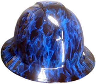 Izzo Graphics Blue Fire Pyramex Ridgeline Full Brim Hard Hat