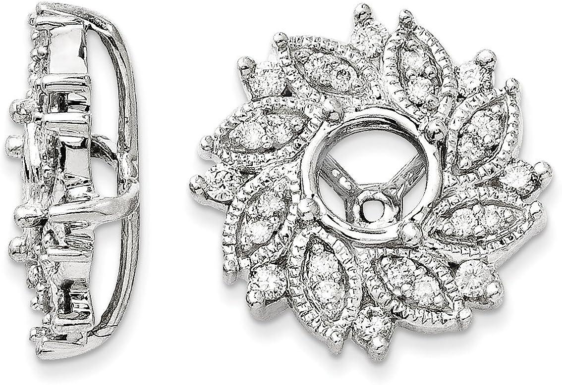 14K White Gold Diamond Flower Jacket Earrings