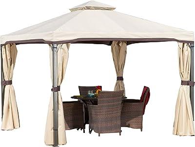 Christopher Knight Home Sonoma Outdoor Iron Gazebo Canopy Umbrella with Net Drapery (Beige)