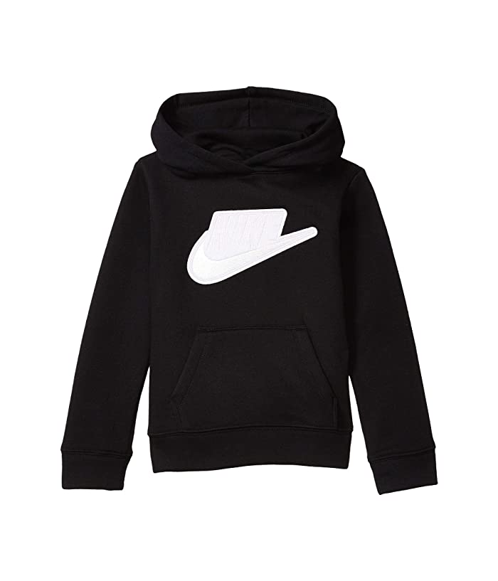 Nike Kids  Sueded Fleece Iridescent Logo Pullover Hoodie (Toddler/Little Kids) (Black) Girls Sweatshirt