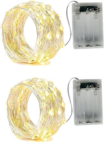 BXROIU 2 x Guirlande Lumineuse a Pile ,Fil d'argent 5 Mètres Batterie Opération et 2 Programme (Blanc chaud, 5 Mètres)