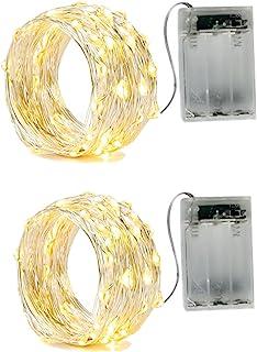 BXROIU 2 x Guirnalda luces,2 Modo Luz Plata Alambre Cadenas 16.5ft 50 leds para dormitorio Navidad Celebración Boda Decoración, blanco cálido, (50leds blanco cálido)