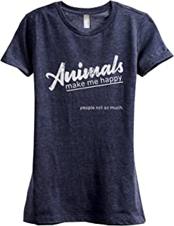 Animals Make Me Happy Women's Fashion Relaxed T-Shirt Tee