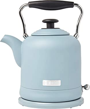 Haden HIGHCLERE 1.5 Liter (6 Cup) Cordless, Vintage Electric Kettle in Pool Blue