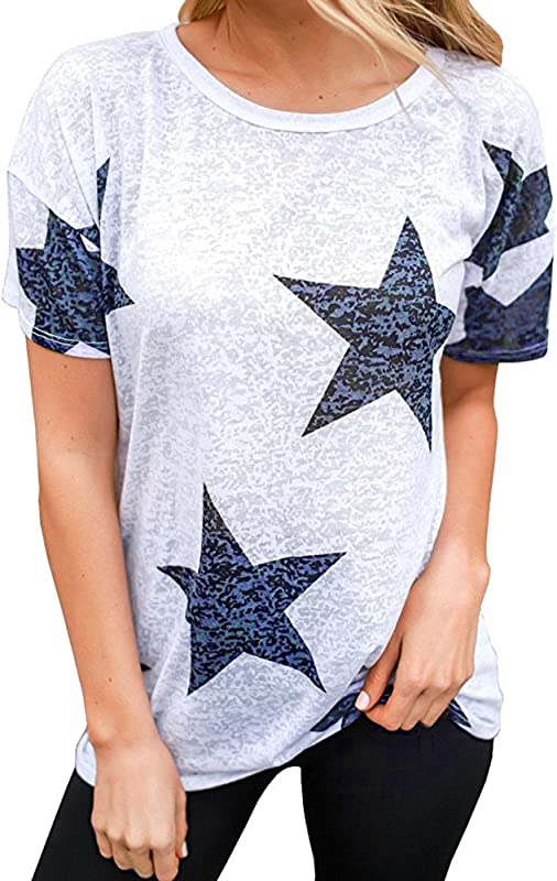 ILOOSKR Women S Casual Shirt Star Print Short Sleeve Shirt Tees Blouse