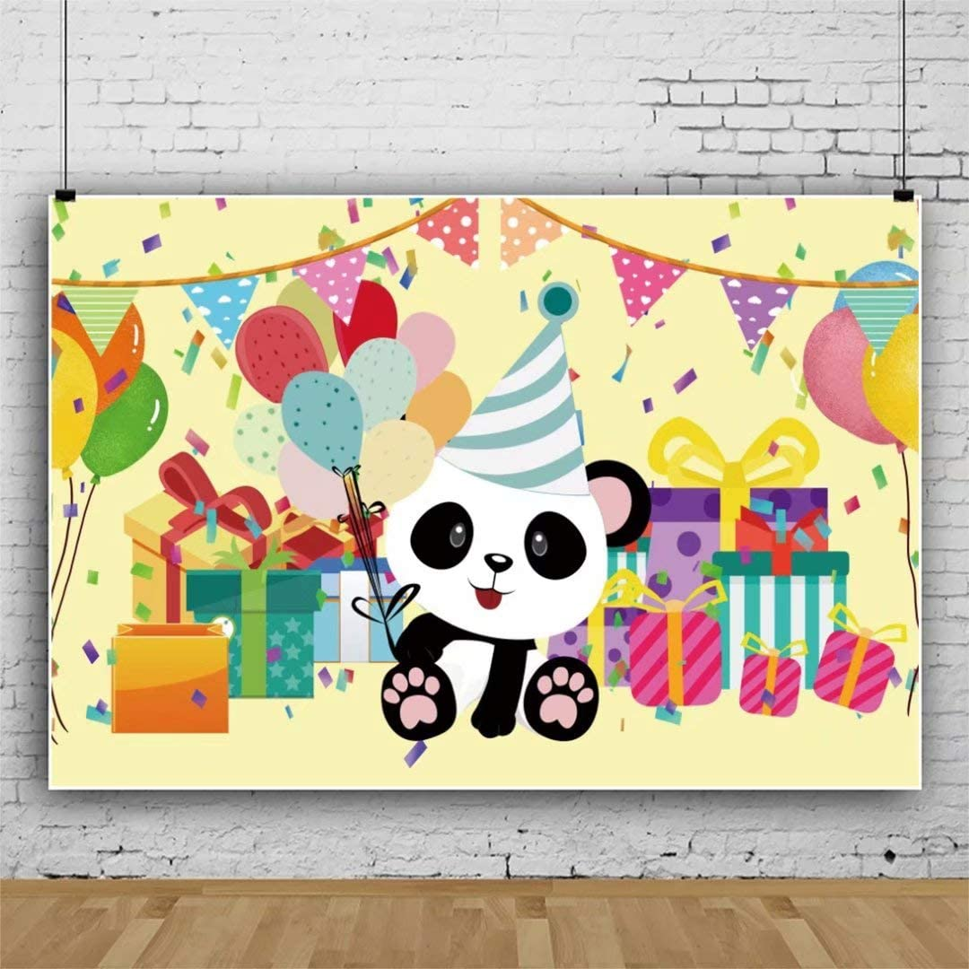 DaShan 14x10ft Cute Panda Backdrop Kids Panda Theme Party Photos Background Gender Reveal Party Newborn Baby Portraits Children Panda Birthday Photo Booth Panda Baby Shower Background Shoots