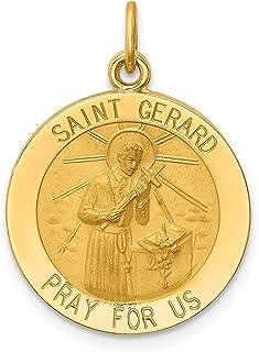 14k Yellow Gold Solid Medium Round St. Gerard Medal Pendant