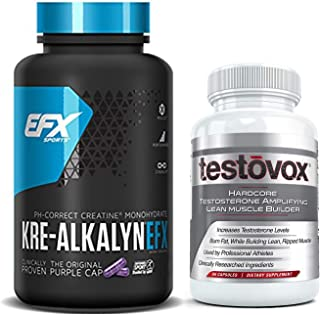 Kre Alkalyn (240 Capsules) and Testovox (60 Capsules) - Kre-Alkalyn Creatine Monohydrate Muscle Building Bundle | Professional Strength Bulk Supplements With Buffered Creatine Powder Pills Stack