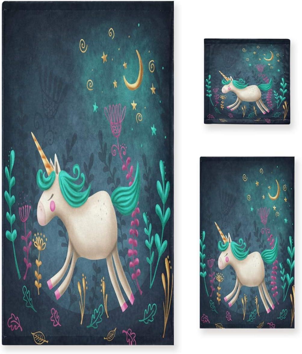 Max 89% OFF Naanle Cute Cartoon Little Unicorn Soft Towe Set Decorative 3 Miami Mall of
