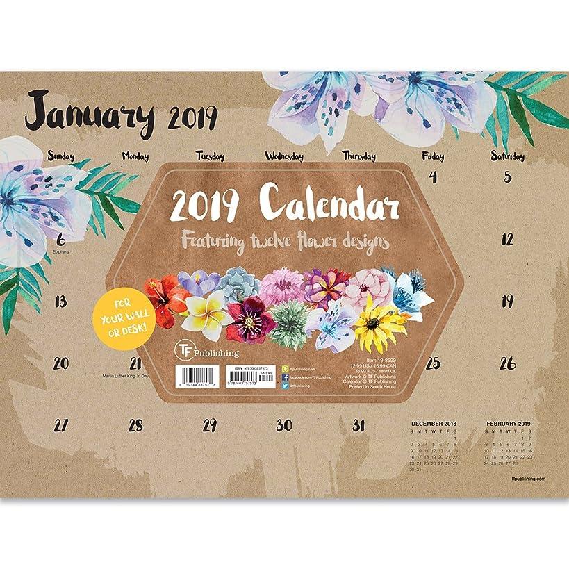 2019 Floral Mini Desk Pad Calendar
