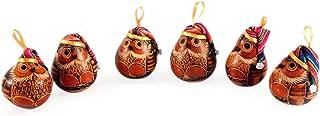 NOVICA HD0046 Christmas Owls' (Set of 6) Mate Gourd Ornaments