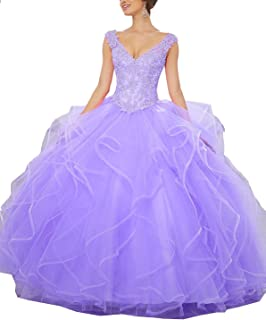 Girl's V-Neck Beading Lace Sweet 16 Straps Ball Gown Quinceanera Dresses P112