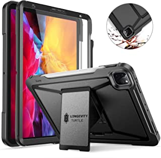 ZtotopCase for iPad Pro 11 Case 2020 2nd Generation, Built-in Screen Protector, Dual Layer Shockproof Full Protective Cover with Kickstand and Pencil Holder, Support iPad Pencil Charging, Black