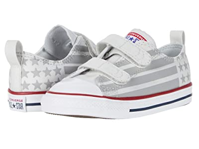 Converse Kids Chuck Taylor All Star 2V Bars and Stripes Ox (Infant/Toddler) (Photon Dust/Dolphin/White) Kid