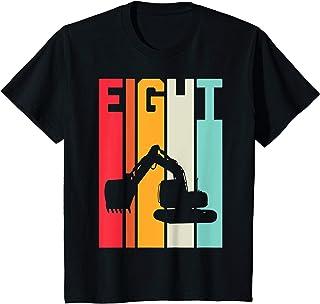 Enfant 8 Ans Anniversaire Retro Excavateur Construction Garçon T-Shirt