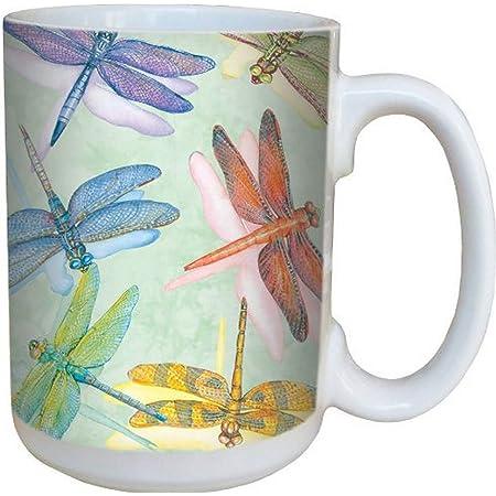 Green Pottery Dragon Fly Coffee Tea Mug