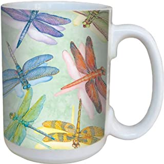 Tree-Free Greetings 79016 Dragonflies Collectible Art Ceramic Mug with Full Sized Handle, 15-Ounce, Multicolor, 15 ounce