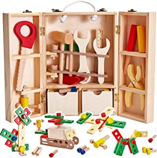 Mumoo Bear Wooden Tool Box Carrycase Pretend Role Play Carpenter Assembly Take Apart Construction Toys for Kids