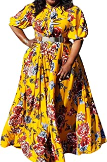 VERWIN Plus Size Floor-Length Print Half Lantern Sleeve Floral Women's Maxi Dress Expansion Dress