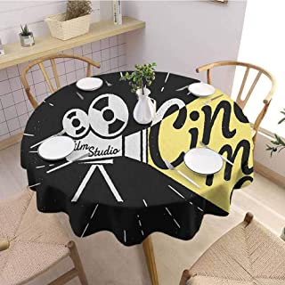 Round Tablecloth,Movie TheaterMovie Projector Sketch with Grunge Cinema Lettering on Black Backdrop,for Kitchen Dinning Tabletop Decoratio Yellow Black White Diameter 67