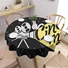 Round Outdoor Tablecloth,Movie TheaterMovie Projector Sketch with Grunge Cinema Lettering on Black Backdrop,Printed Tablecloth Yellow Black White Diameter 60