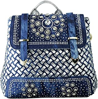 Women Genuine Leather Handbag Colorful Hand Knit Backpack Crossbody Tote Satchel with Top Handle