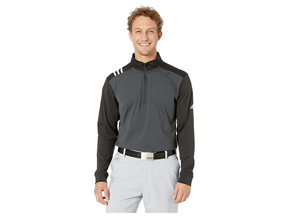 Image of adidas Golf 3-Stripes 1/4 Zip (Carbon/Black) Men's Clothing