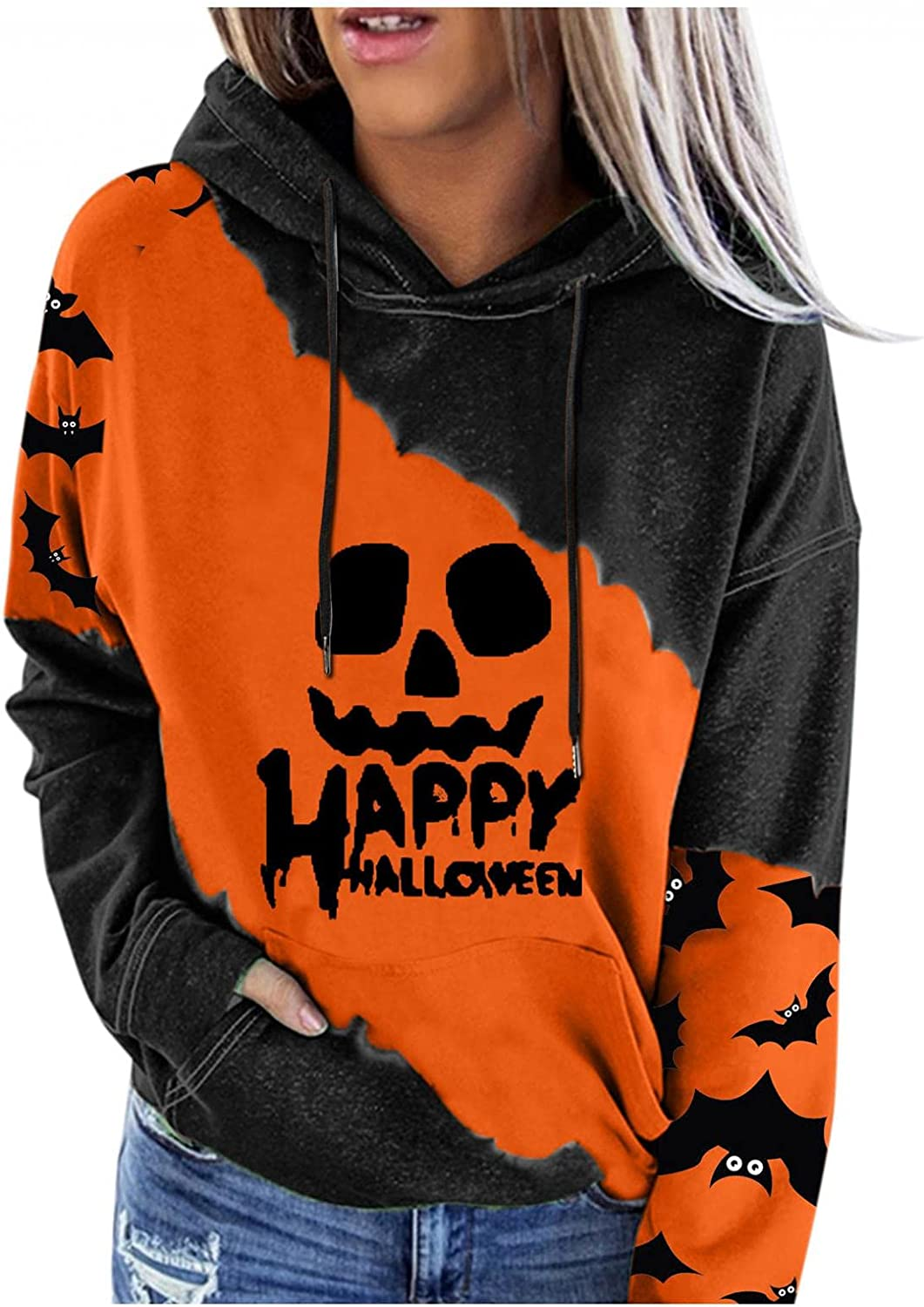 Gibobby Hoodies for Women Pullover Drawstring Sweatshirts Lightweight Halloween Printed Long Sleeve Blouse with Button