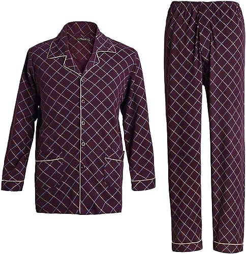 Zcx Pyjama Pour Hommes 100% Coton Ensemble De Pyjama à Manches Longues Pantalon De Pyjama Lingge