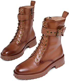 None/Brand Cow Leather Platform Lace-up Buckle Zipper Fashion Women's Shoes Square Heel Round Toe Winter Ankle Boots Size ...