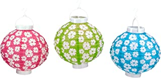 Beistle Light-Up Hibiscus Paper Lanterns, 8-Inch, Cerise/Light Green/Turquoise/White