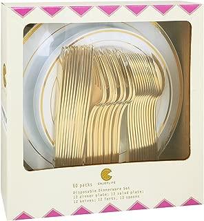 60 Pieces Plastic Gold Plates with Gold Plastic Silverware,Party Plastic Plates with Gold Trim, Disposable Heavy Duty Flatware set,Enjoylife