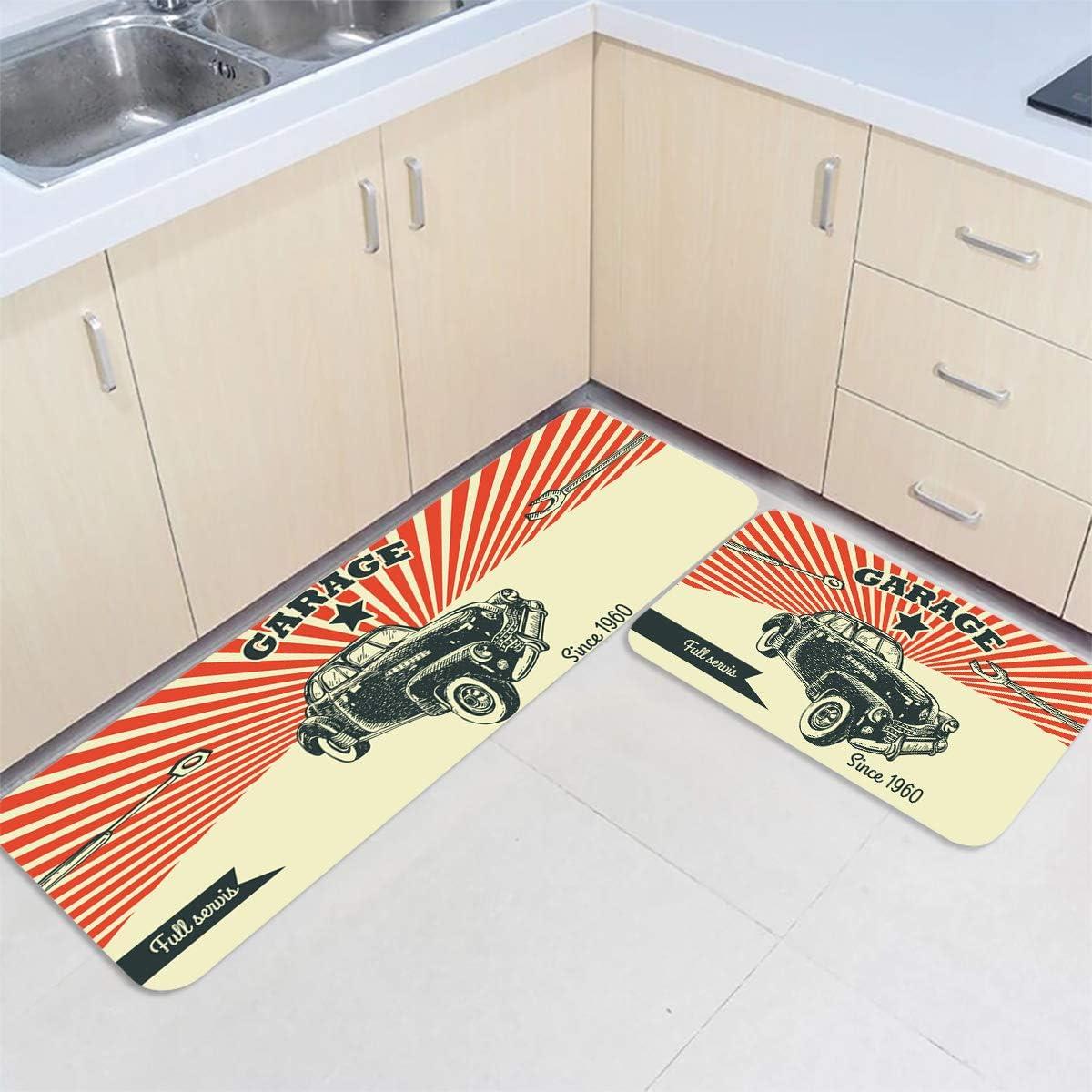Savannan Japan's largest assortment 2 Piece Kitchen Max 60% OFF Rug Set Advertising Garage Car P Retro