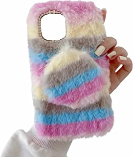 Miagon Cute Fluffy Colorful Case for OPPO Realme 8 5G,Girls Women Furry Rabbit Faux Winter Fur Case Soft Silicone Shockpro...