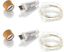 Auraglow Rechargeable USB Bottle Cork Wire Fairy String Light with 15 LED's - Twin Pack