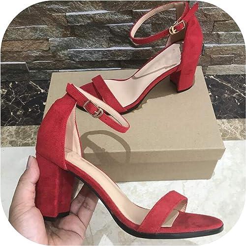 Sandalias de tacón Alto Sexy para mujer, con Correa de Hebilla, zapatos de mujer, Color negro y rojo
