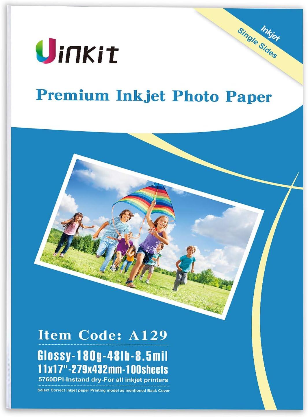 Glossy Photo Paper 11 x 17 - 100 sheets Uinkit Single side Inkje